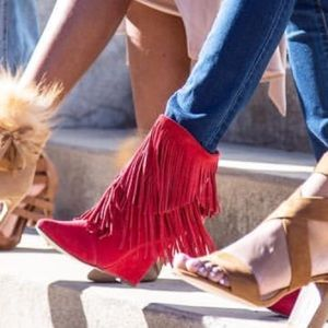 Shoes - Red Suede Fringe WEDGE Ankle Bootie
